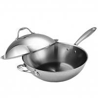ihocon: Cooks Standard 13-Inch Multi-Ply Clad Stainless Steel Wok Stir Fry Pan with Dome Lid