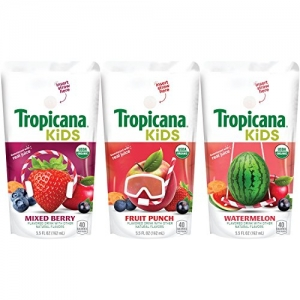 ihocon: Tropicana Kids Organic Juice Drink Pouch, Variety Pack - Fruit Punch, Watermelon, Mixed Berry, 5.5 fl oz, 32 count  有機兒童果汁