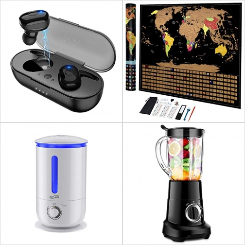 [Amazon折扣碼] 真無線耳機, 刮刮留念世界地圖, 超音波室內加濕器, Smoothie Blender果汁機 額外折扣!