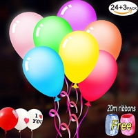 ihocon: Kadron LED Light Up Balloons, 27pcs+20m Ribbons Free亮燈氣球