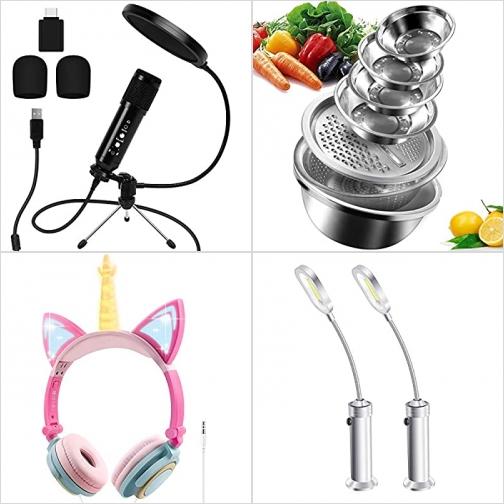 [Amazon折扣碼] 消噪USB麥克風, 多功能不銹鋼盆, 兒童耳機, LED燈 額外折扣!