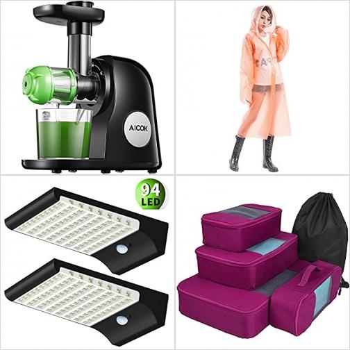 [Amazon折扣碼] 慢磨榨汁機, 成人雨衣, 太陽能動作感應LED燈, 旅行衣物收納袋 額外折扣!