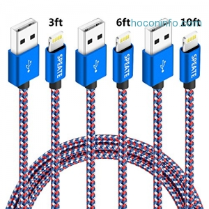 ihocon: SPEATE Nylon Braided Lightning USB Cable,  3ft,6ft,10ft, 3-pack