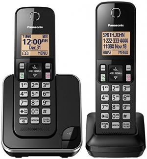ihocon: Panasonic KX-TGC352B Expandable Cordless Phone with Amber Backlit Display - 2 Handsets, Black 無線電話