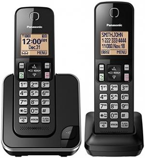 ihocon: Panasonic KX-TGC352B Expandable Cordless Phone with Amber Backlit Display - 2 Handsets, Black 無線電話