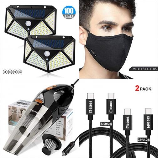[Amazon折扣碼] 太陽能動作感應LED燈, N95 4層活性碳口罩, 乾濕兩用汽車吸塵器, USB Type C to C線 額外折扣!