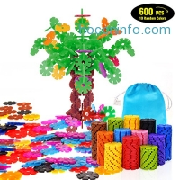 ihocon: Geekper 600Pcs Building Blocks Set 兒童組合玩具-花形機木片