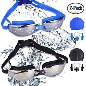 ihocon: RIHACHAN Swim Goggles with Swimming Caps, Nose Clips, Ear Plugs-2 pack蛙鏡+泳帽+耳塞+鼻夾