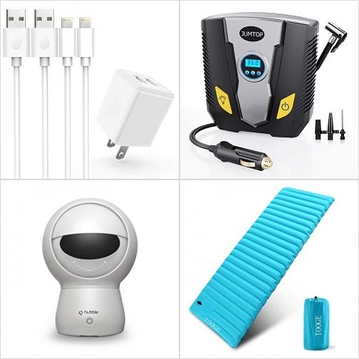 [Amazon折扣碼] iPhone充電器及充電線, 電動輪胎打氣機, 室內智能監視鏡頭, 充氣睡墊 額外折扣!