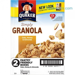ihocon: Quaker Simply Granola Oats, Honey & Almonds, Breakfast Cereal, 28 oz Boxes, Twin Pack