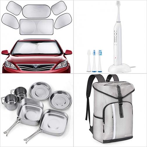 [Amazon折扣碼] 車窗遮陽板, 電動牙刷, 不銹鋼露營餐具組Mess Kit , 保冷背包 額外折扣!
