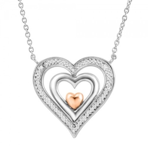 ihocon: Spinner Heart Pendant with Diamonds in Sterling Silver & 14K Rose Gold 純銀/14K玫瑰金鑽石項鍊