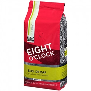 ihocon: Eight O'Clock Whole Bean Coffee, 50% Decaf, 36 Ounce 咖啡豆 50%低咖啡因