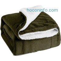 ihocon: Sherpa Throw Blanket Olive Green Throw柔軟蓋毯