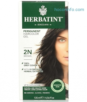 ihocon: Herbatint Permanent Herbal Hair Color Gel, 2N Brown, 4.56 Ounce草本染髮劑