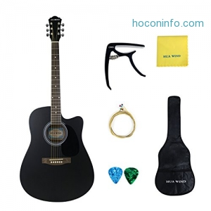 ihocon: Acoustic Guitar 41 Basswood Cutaway Steel Strings Acoustic Guitar Starer Kit with Gig Bag, Capo, Strings, Picks and Polishing Cloth (Full Size Cutaway)