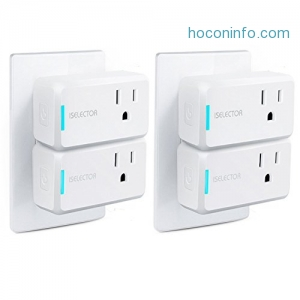 ihocon: [不在家也能遙控電器] ISELECTOR Mini Smart Plug Wi-Fi 4-Pack Timing Use No-Hub, Compatible with Alexa and Google Assistant智能插座
