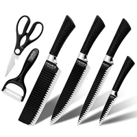 ihocon: FASAKA 6 Piece Black blade kitchen knife set刀組