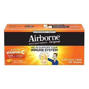 ihocon: Airborne Zesty Orange Effervescent Tablets, 36 count - 1000mg of Vitamin C - Immune Support Supplement