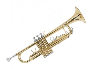 ihocon: Gold Lacquer Brass Bb Trumpet with Cupronickel Valves, Case, Cloth, and Gloves小喇叭, 含手套,收納箱