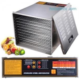 ihocon: Commercial 10 Tray Stainless Steel Food Dehydrator Fruit Meat Jerky Dryer Blower 食物乾燥機