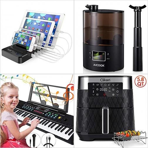 [Amazon折扣碼] 5-Port USB充電座, 超音波室內加濕機, 兒童電子琴含麥克風, 5.8 Qt氣炸鍋 額外折扣!