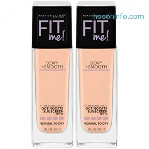 ihocon: Maybelline New York Fit Me Dewy + Smooth Foundation Makeup, Ivory, 2 Count