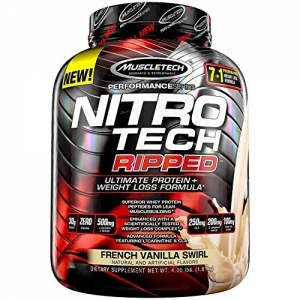 ihocon: MuscleTech Nitro Tech Ripped Ultra Clean Whey Protein Isolate Powder + Weight Loss Formula, Low Sugar, Low Carb, French Vanilla Swirl, 4 Pounds 減肥配方蛋白粉