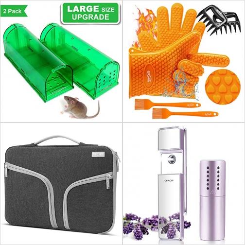 [Amazon折扣碼] 捕鼠器, BBQ矽膠隔熱手套, 電腦保護袋, 隨身臉部補水器 額外折扣!