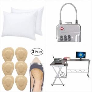 [Amazon折扣碼] 純棉鵝絨枕, TSA核可行李箱鎖, 鞋墊, L型書桌/電腦桌 額外折扣!