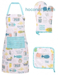 ihocon: Men/Women Basic Cotton Kitchen Apron Glove and Potholder Set