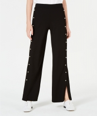 ihocon: Almost Famous Juniors' Faux Pearl-Trimmed Wide-Leg Pants