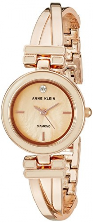 ihocon: Anne Klein Women's AK/2622LPRG Diamond-Accented Rose Gold-Tone Bangle Watch  女鑽錶