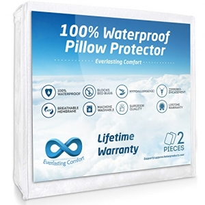 ihocon: Everlasting Comfort 100% Waterproof Pillow Protector (Standard, 2-Pack) 防水枕頭保護套