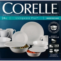 ihocon: Corelle Classic 24-Piece Winter Frost White Dinnerware Set餐盤組