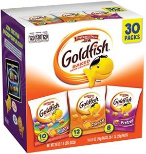 ihocon: Pepperidge Farm, Goldfish, Crackers, Classic Mix, 29 oz, Variety Pack, Box, Snack Packs, Pack Of 30 小魚餅乾