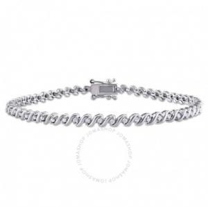 ihocon: AMOUR 1/2 CT TW Diamond S-Shape Tennis Bracelet in Sterling Silver