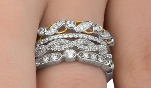ihocon: Diamond Mix and Match Stackable Rings in Sterling Silver By DeCarat