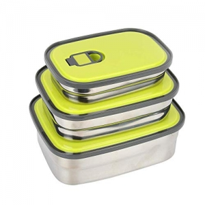 ihocon: Stainless Steel Bento Lunch Box Set 3 in 1, BPA Free Leak Proof 不銹鋼便當盒3個