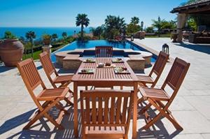 Vifah 庭園7件式木製餐桌椅 $408.76免運(原價$630.96, 35% Off)