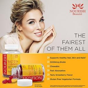 ihocon: Hair Skin and Nail Vitamins Gummies - Hair Growth Vitamins Biotin Gummies – Strawberry Flavored, 90 count 頭髮皮膚和指甲維他命軟糖