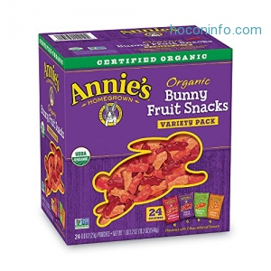 ihocon: Annie's Organic Bunny Fruit Snacks, Variety Pack, 24 Pouches, 0.8 oz Each