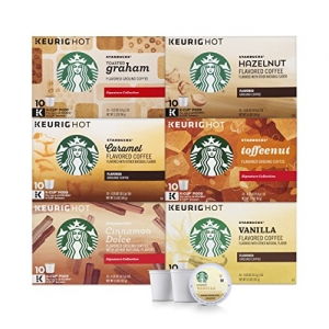 ihocon: Starbucks Flavored Coffee K-Cup Variety Pack for Keurig Brewers, 6 boxes of 10 (60 total K-Cup pods), 60 Count星巴克咖啡膠囊-綜合口味