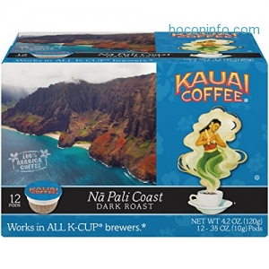 ihocon: Kauai Coffee Single-serve Pods, Na Pali Coast Dark Roast – 100% Premium Arabica Coffee from Hawaii's Largest Coffee Grower, Keurig-Compatible Cups - 12 Count (Pack of 1)