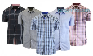 ihocon: Men's Short-Sleeve Plaid and Checkered Slim Fit Dress Shirts