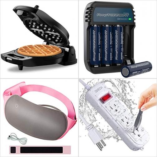 [Amazon折扣碼] 鬆餅機, AA充電電池及充電器, 腹部/背部電熱敷包, 防水延長線 額外折扣!
