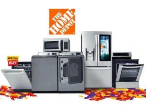 Home Depot: 大型家電特價up to 40% off, 冰箱, 洗衣機, 烘衣機, 洗碗機, 微波爐, 抽油煙機….