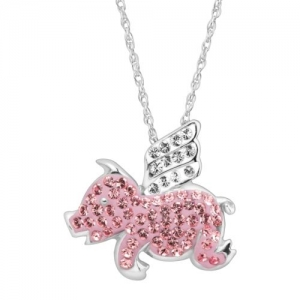 ihocon: Crystaluxe Flying Pig Pendant with Swarovski Crystals in Sterling Silver 925純銀粉紅飛豬施華洛世奇水晶項鍊