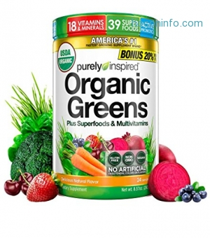 ihocon: Purely Inspired Organic Greens, USDA Organic, Super Greens Powder, Unflavored, 8.57 oz, 24 servings