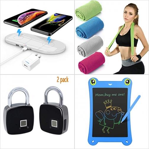 [Amazon折扣碼] 手機無線雙充電板, 運動涼巾, 指紋辨識智能鎖, LED彩色繪圖板 額外折扣!